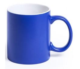 Taza de color azul e interior de color blanco para personalizar con laser