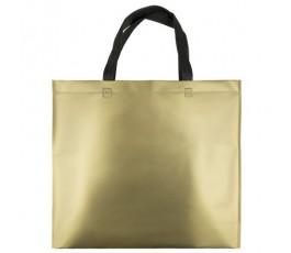 bolsa de non-woven lamnado metalizado de color dorado con asas negras
