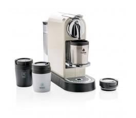 taza CoffeeToGo color plateado personalizada con logo en maquina de cafe Nespresso