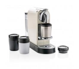 taza CoffeeToGo color plateado en maquina de cafe Nespresso