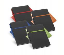 4 libretas tipo moleskine A5 color negro con boligrafo y funda para personalizar con un logo