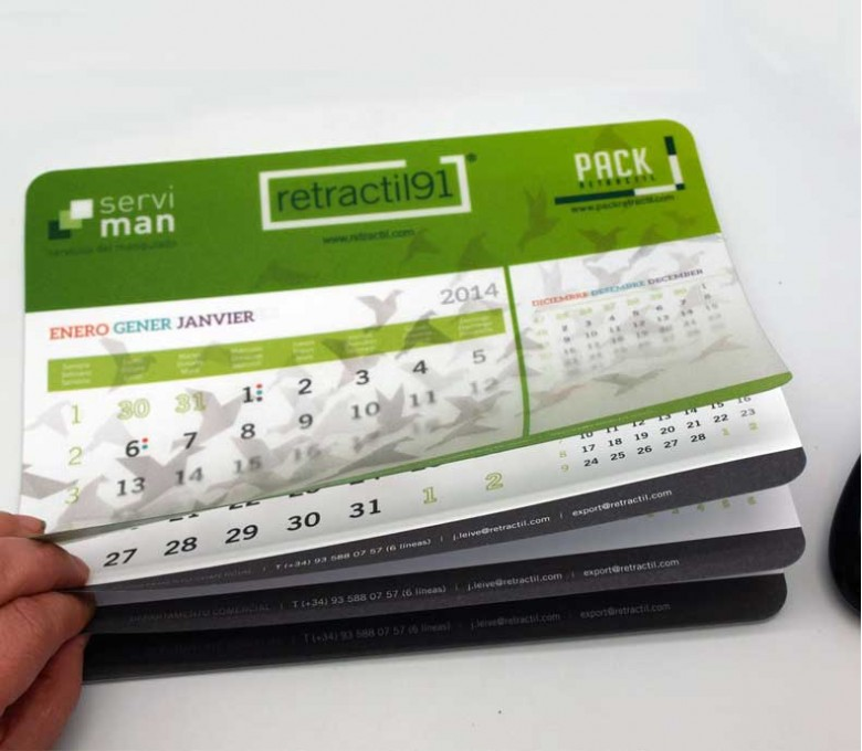 Alfombrilla calendario para raton totlamente personalizada