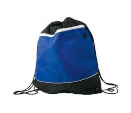 mochila de saco bicolor azul y negro para personalizar con logo