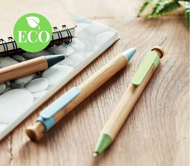 varios boligrafos ecologicos de bambu y paja de trigo con sello ECO