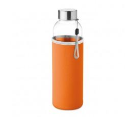 Botella de cristal con funda de neopreno color naranja