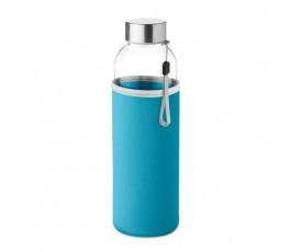 Botella de cristal con funda de neopreno color turquesa