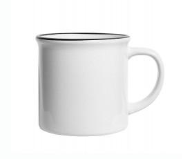 vista lateral de la taza estilo vintage para personalizar con sublimacion de color blanco modelo ZG39061