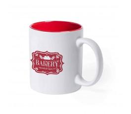 taza de color blanco e interior de color rojo personalizada con logo y sello