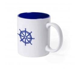 taza de color blanco e interior de color azul personalizada con logo y sello