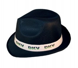 sombrero tiroles modelo S232 color negro con cinta blanca personalizada