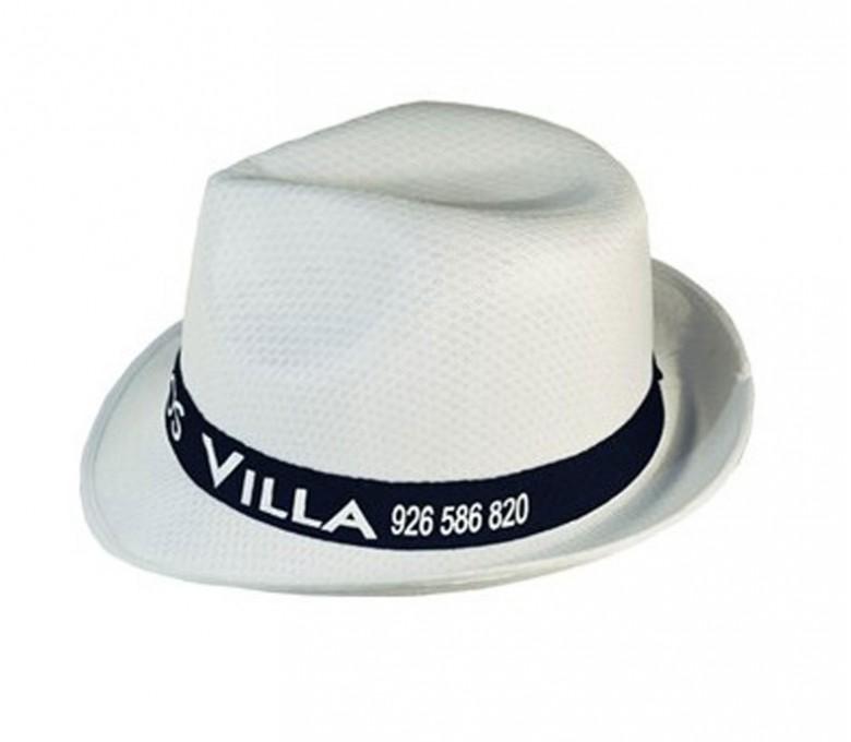 sombrero tiroles modelo S232 color blanco con cinta negra personalizada