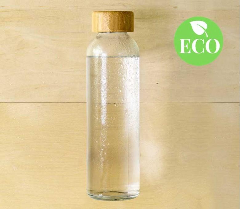 Botella ecologica de cristal y tapon de madera con sello ECO
