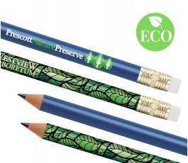 varios lapices ecologicos personalizados a todo color con goma de borrar y con sello ECO