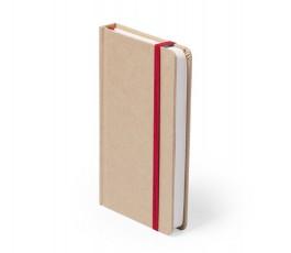 libreta A6 de cartón reciclado con cinta roja