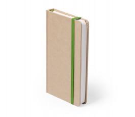 libreta A6 de cartón reciclado con cinta verde