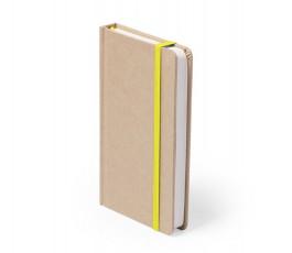 libreta A6 de cartón reciclado con cinta amarilla