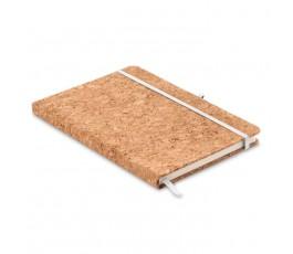 libreta tipo moleskine A5 de corcho con portaboligrafo fondo blanco