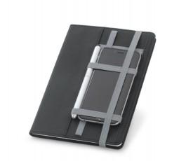 Cuaderno A5 con cintas elasticas sujetando un movil y un boligrafo