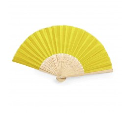 abanico de poliester y bambu modelo A6406 color amarillo