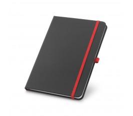 libreta tipo moleskine color negro con detalles en rojo