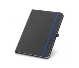 libreta tipo moleskine color negro con detalles en azul