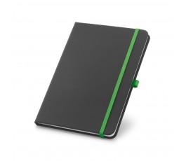 libreta tipo moleskine color negro con detalles en verde