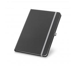 libreta tipo moleskine color negro con detalles en gris