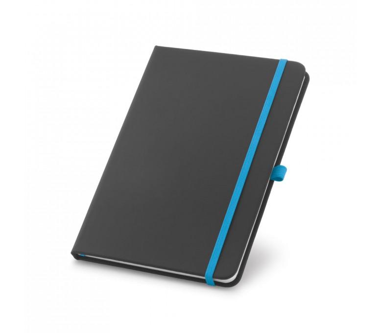 libreta tipo moleskine color negro con detalles en azul claro