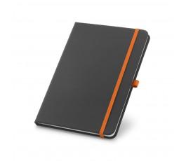 libreta tipo moleskine color negro con detalles en naranja