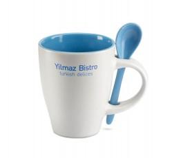 taza de ceramica blanca modelo C7344 con interior y cuchara de color  azul personalizada con logo