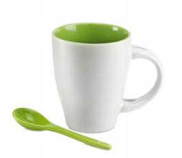 taza de ceramica blanca modelo C7344 con interior y cuchara de color verde