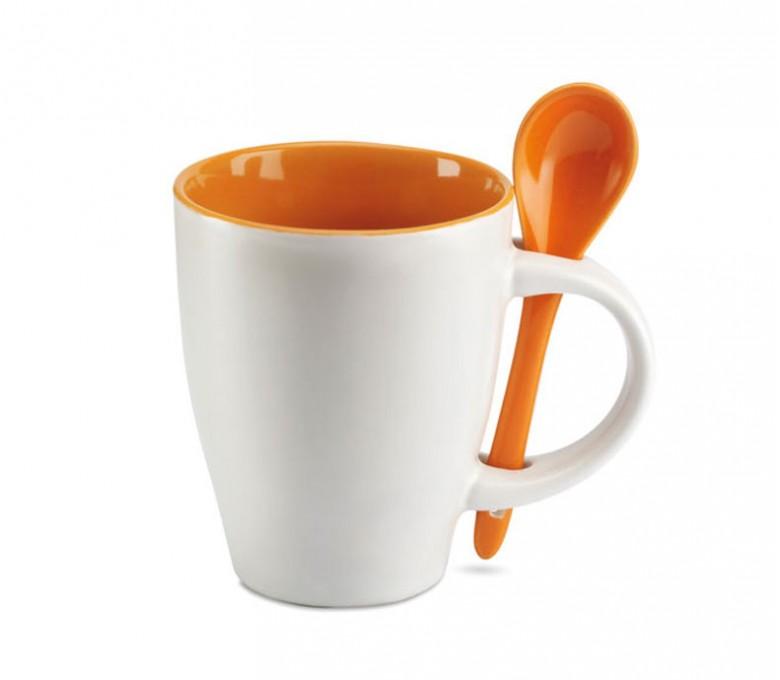taza de ceramica blanca modelo C7344 con interior y cuchara de color naranja