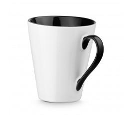 taza conica de ceramica color blanco e interior y ase de color negro
