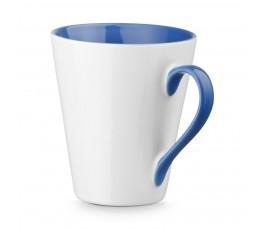 taza conica de ceramica color blanco e interior y ase de color azul