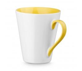 taza conica de ceramica color blanco e interior y ase de color amarillo