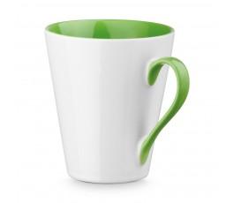 taza conica de ceramica color blanco e interior y ase de color verde