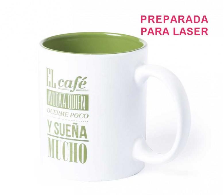 taza de color blanco e interior de color verde personalizada con logo y sello