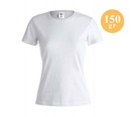 camiseta publicitaria para mujer de algodon color blanco 150 gramos