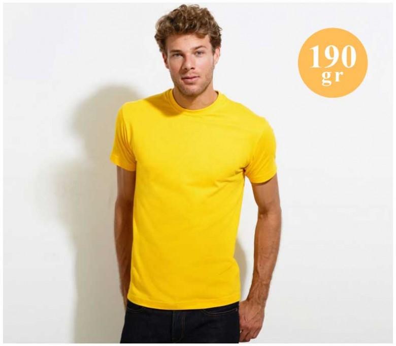 hombre con camiseta SOLS de 190 gr color amarillo