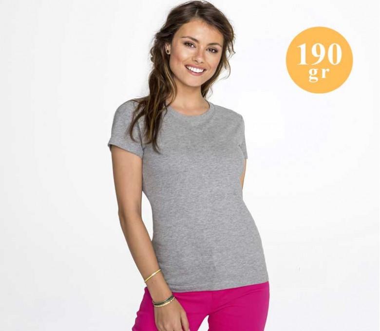 camiseta SOLS mujer de algodon 190 gr color gris mezcla