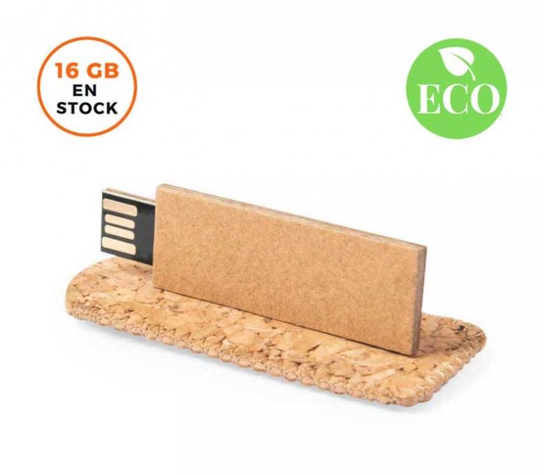 Memoria USB cartón reciclado 16GB con sello ECO