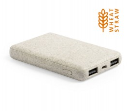 Power bank de bolsillo 5000 mAh con paja de trigo y sello wheat straw