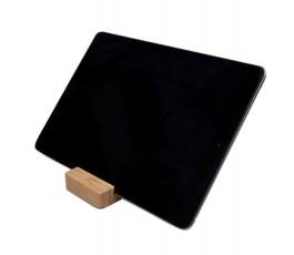 Soporte de bambu para movil y tablet con tablet colocada