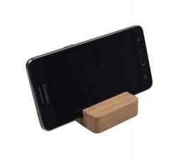 Soporte de bambu para movil y tablet  con movil colocado