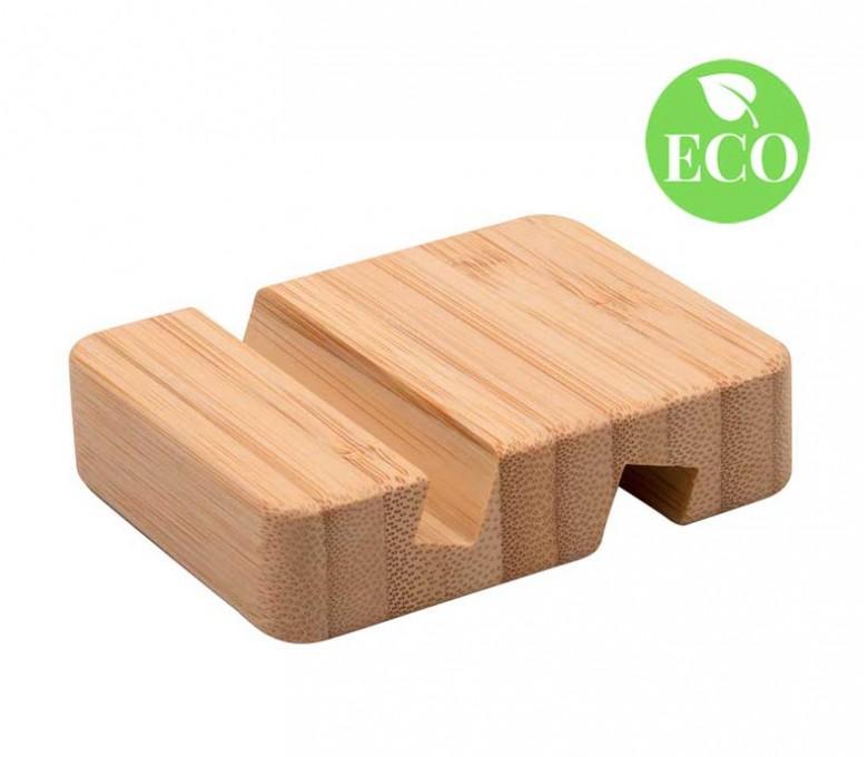 Soporte de bambu para movil y tablet con sello ECO