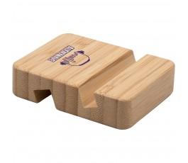 Soporte de bambu para movil y tablet personalizado con logo